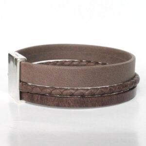 bracelet homme cuir manchette cordon tresse marron lanière multi rangs fermoir magnétique 1