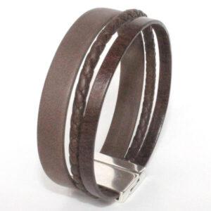 bracelet homme cuir manchette cordon tresse marron lanière multi rangs fermoir magnétique 2