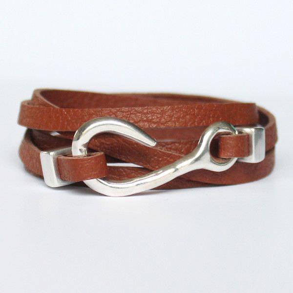 Bracelet cuir femme 5 tours marron fermoir hameçon crochet 1