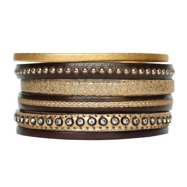 """Bracelet femme cuir manchette multi liens marron foncé doré gold strass """"Black Gold"""""""
