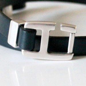 Bracelet homme cuir fermoir crochet H bleu gris 2
