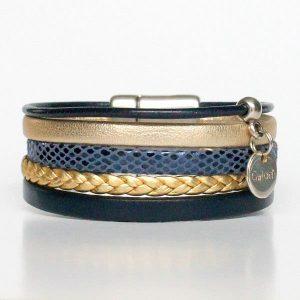 Bracelet enfant fille cuir manchette bleu or doré Golden Blue tressé 1