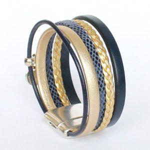 Bracelet enfant fille cuir manchette bleu or doré Golden Blue tressé 2