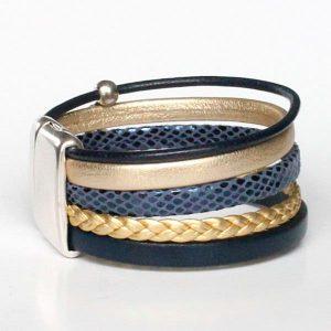 Bracelet enfant fille manchette cuir bleu or doré tressé 3