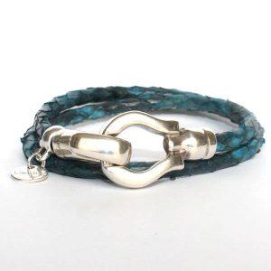 Bracelet femme cuir python bleu marine bleu canard