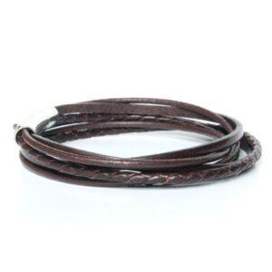 Bracelet homme cuir marron chocolat fermoir acier double tour 2