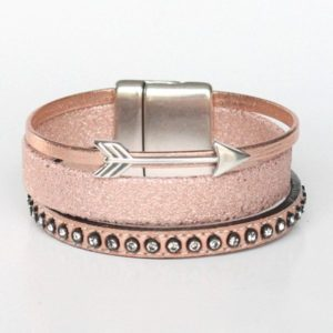 Bijoux bracelet enfant fille cuir manchette flèche or rose 2