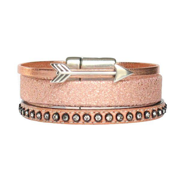 Bracelet enfant fille cuir manchette flêche or rose