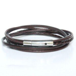 Bracelet homme cuir marron chocolat fermoir acier double tour 1