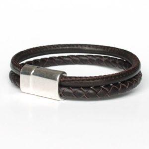 Bracelet homme cuir tressé surpiqué marron chocolat 2