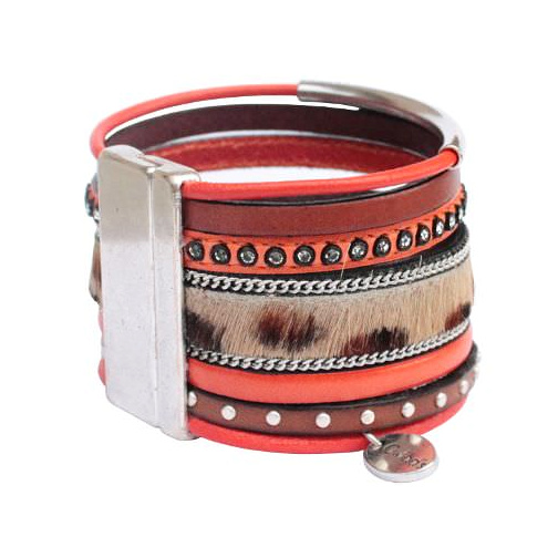 """Bracelet cuir femme manchette """"léopard"""""""