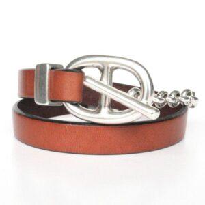 Bracelet femme cuir chaine maille marine marron tendance argent 1