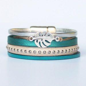 Bijoux bracelet enfant fille cuir manchette bleu canard Feuille De Monstera 1