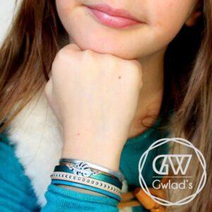 Bijoux bracelet enfant fille cuir manchette bleu canard Feuille De Monstera 2