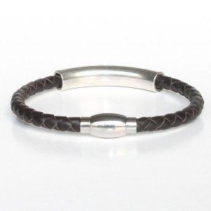 """Bracelet homme cuir surpiqué """"Tube"""" chocolat 2"""