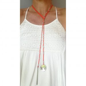 Collier cuir femme lacet de cou ras de cou orange corail 2