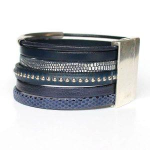 "Bracelet femme cuir manchette bleu marine ""Navy Blue"" 2"
