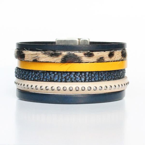 Bracelet cuir femme manchette Léopard bleu marine jaune moutarde 1