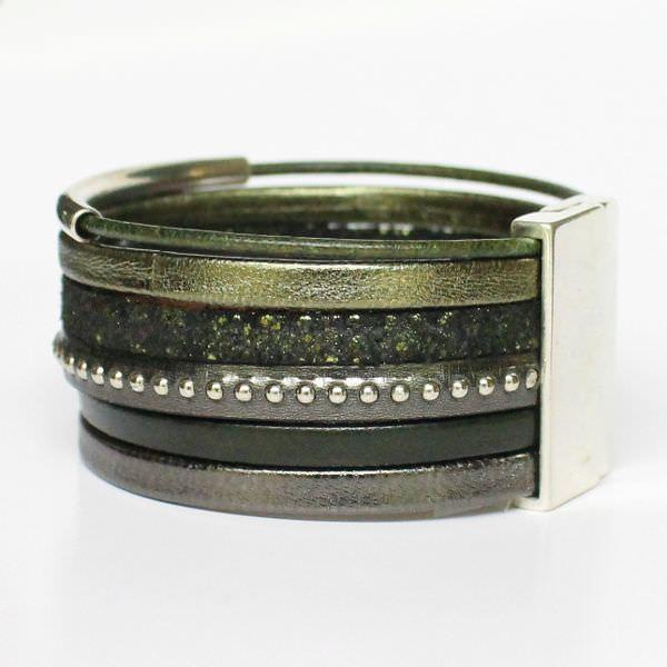 Bracelet femme cuir manchette vert kaki 2