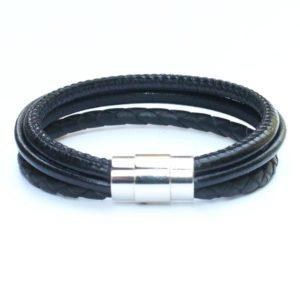 bijoux bracelet cuir homme tressé surpiqué noir fermoir aimanté 2