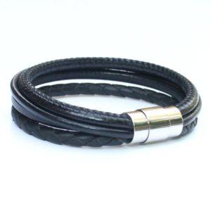 bijoux bracelet cuir homme tressé surpiqué noir fermoir aimanté 1