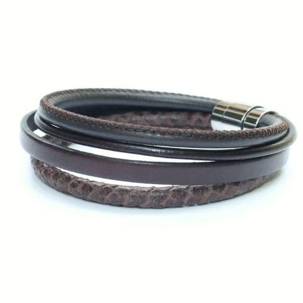 Bijoux bracelet homme cuir tressé surpiqué fermoir aimanté marron chocolat 1