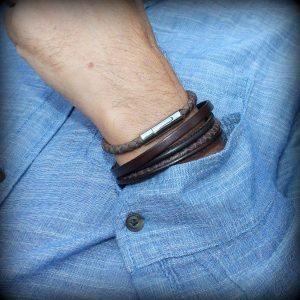 Bijoux bracelet homme cuir tressé surpiqué fermoir aimanté marron chocolat 2