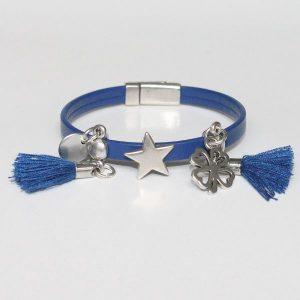 bracelet bijou enfant fille cuir Pompon bleu marine 1