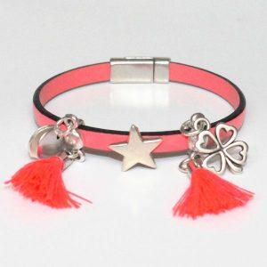 Bracelet bijou enfant fille cuir Pompon rose fluo 1