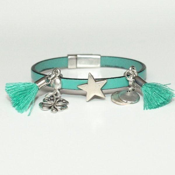 Bracelet bijou enfant fille cuir Pompon vert d'eau 1
