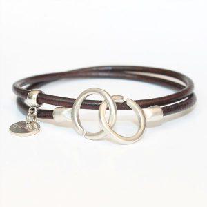 Bracelet menottes en cuir femme double tour 1