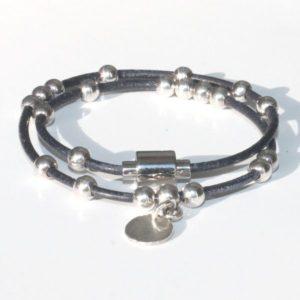 Bracelet cuir enfant fille double tour perle bille argent massif 925 fermoir aimanté 1