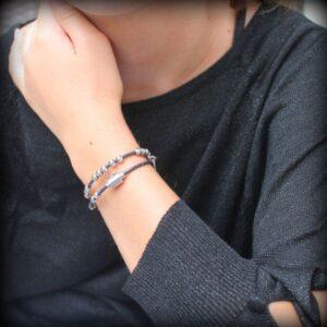 Bracelet cuir enfant fille double tour perle bille argent massif 925 fermoir aimanté 6