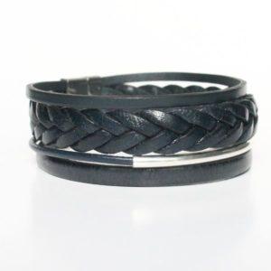 """Bracelet homme cuir manchette multi liens bleu marine """"Navy"""" fermoir aimanté 1"""