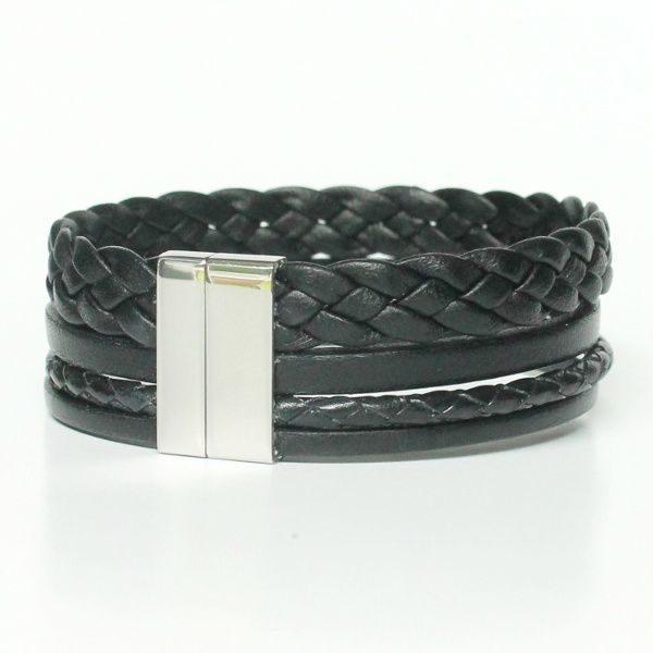"""Bracelet homme cuir manchette multi liens noir """"Mara"""" fermoir aimanté acier 1"""