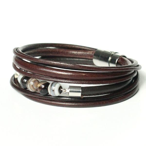 Bracelet homme cuir multi liens perle gemme agate Botswana marron foncé 1