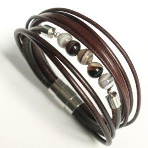 Bracelet homme cuir multi liens perle gemme agate Botswana marron foncé 2