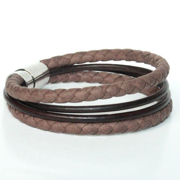 bracelet homme cuir tressé marron chocolat 1
