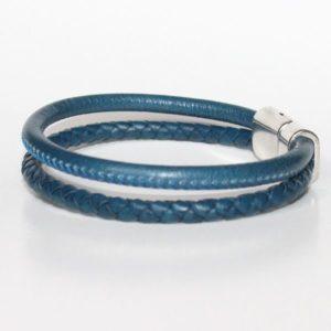 Bracelet homme cuir tressé surpiqué bleu Jean fermoir aimanté 2