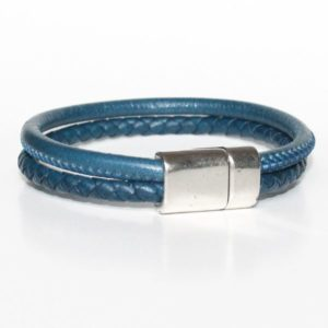 Bracelet homme cuir tressé surpiqué bleu Jean fermoir aimanté 1