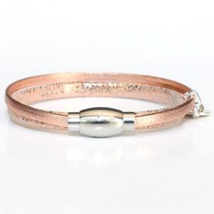 bracelet enfant fille cuir pailleté rose nude doré Shine fermoir aimanté 2