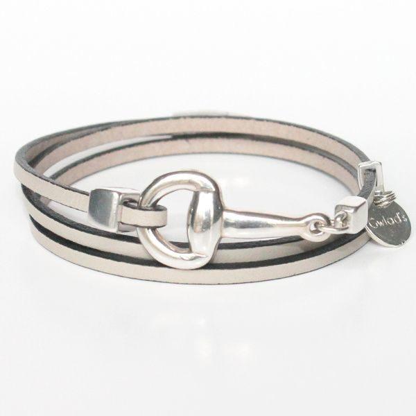 Bracelet femme cuir mors cheval argent équestre 1