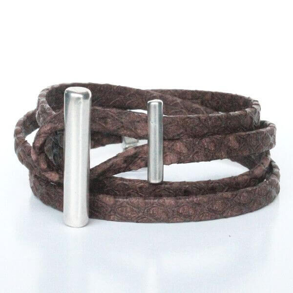 bijoux bracelet cuir femme double tours reptile marron chocolat 1