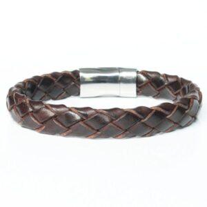 bracelet homme cuir tressé Johor fermoir acier aimanté 2