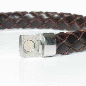 bracelet homme cuir tressé Johor fermoir acier aimanté 3