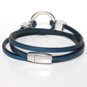 bracelet enfant ado cuir multi tours anneau bleu marine 2