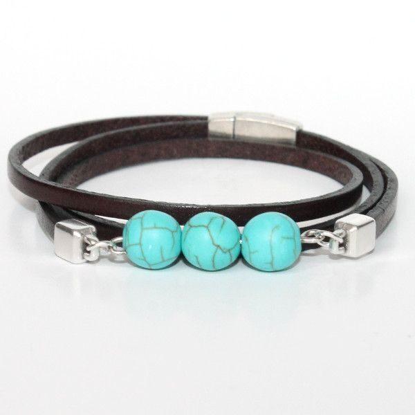 bracelet enfant cuir garçon perle turquoise trois tours 1