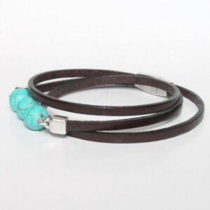 bracelet enfant cuir garçon perle turquoise trois tours 2