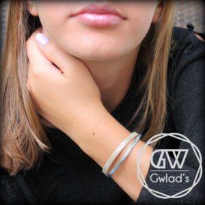 bracelet enfant fille cuir à pois beige argenté pailleté 4