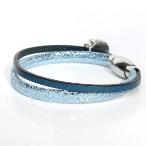 bracelet enfant fille cuir bleu pailleté argenté Topaze 1